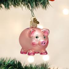 amazon com old world christmas piggy bank glass blown ornament