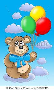 teddy balloons clip of teddy with color balloons on blue sky teddy