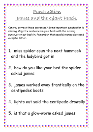 roald dahl james and the giant peach punctuation worksheet by