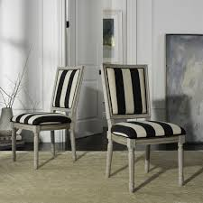 Black And White Striped Dining Chair Fox6229n Set2 Dining Chairs Furniture By Safavieh