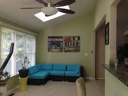 need help to pick sunroom paint color to compliment w blue wicker sofa