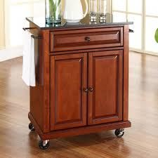 Crosley Furniture Kitchen Cart Crosley Cherry Kitchen Cart With Black Granite Top Kf30024ech