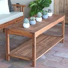 walker edison coffee table amazon com walker edison furniture company solid acacia wood patio
