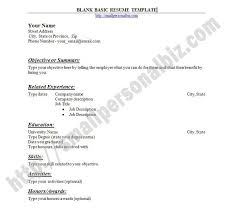 Free Fillable Resume Templates Blank Resume Blank Sample Resume Free Basic Blank Resume Template