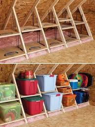 clever attic storage could be good for under the stairs too