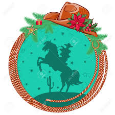 american cowboy christmas background with western hat and