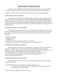 How To Write A Student Resume Resumes For College Students 22 Unthinkable Resumes For College