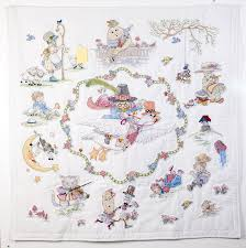 bucilla mary engelbreit mother goose lap quilt stamped cross