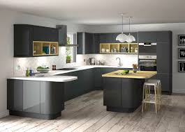 Grey Kitchens Ideas Stunning Grey Gloss Kitchen Ideas With Black Appliances And