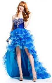custom made blue front short long back prom dresses organza