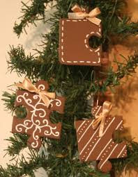 gingerbread decorations from recycled puzzle pieces tutorial