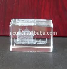 Crystal Souvenirs 3d Laser Engraved Indian Golden Temple Cube Religious Crystal