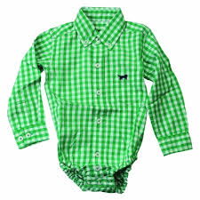 thomas baby boys kelly green gingham shirt onesie