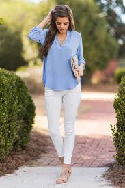 periwinkle blouse tabbed sleeve v neck blouse periwinkle the mint julep