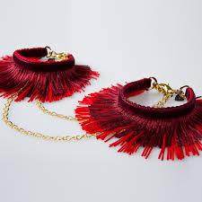 red burgundy fringe handcuffs fraulein kink touch of modern red burgundy fringe handcuffs