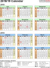 split year calendar 2018 19 printable pdf templates