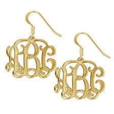 monogrammed earrings gold vine script monogram earrings be monogrammed