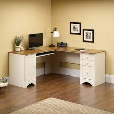 small white corner desk with single drawer for laptop computer