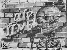 home design brick wall black and white graffiti fireplace