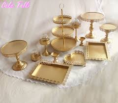 gold cake stands set of 12 pieces gold cake stand wedding cupcake stand set glass