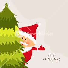 cute santa claus looking behind xmas tree for merry christmas