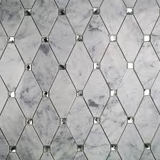 Mirror Tiles Backsplash by Reflection Diamond White Carrera And Mirror Marble And Glass Tile