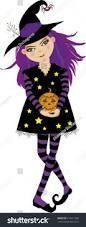 vector illustration cute young witch violet stock vector 718511209