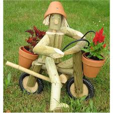 wooden garden flowerpot motorbike and rider a great garden