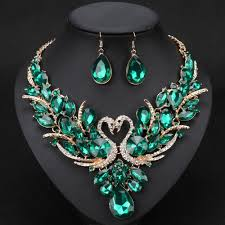 crystal necklace making images Crystal bridal jewelry sets gold color swan pendant necklace women jpg