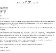examples of follow up thank you letter for interview huanyii com
