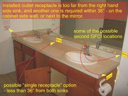 gfci distance from sink bathroom exquisite bathroom receptacle and counter height for vessel