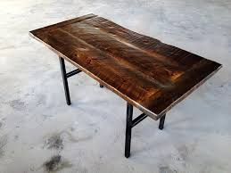 reclaimed wood table with metal legs shellback iron works