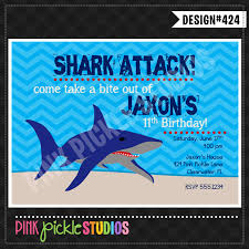 shark attack personalized party invitation