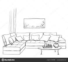 hand drawn room interior sketch u2014 stock vector yuliia25 132272268
