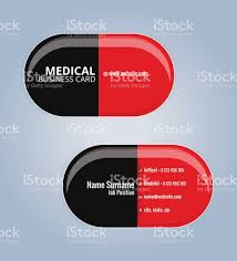 red and black the drug capsules business card template medical