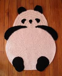 crocheted panda rug i would kill whoever treated it as a rug and