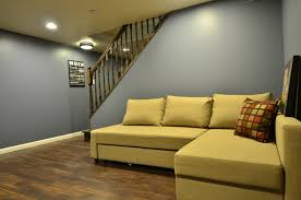 Wooden Floor L Yelllow L Shaped Sofa Set With Wooden Floor And Grey Wall Color