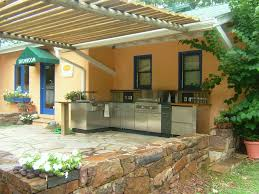 stainless outdoor kitchen cabinets large wooden canopy paired with stainless steel outdoor kitchen