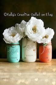 Mason Jar Vases Wedding Cream Coral And Teal Painted Mason Jar Distressed Mason Jars