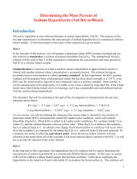 determining the mass percent of sodium hypochlorite naclo in
