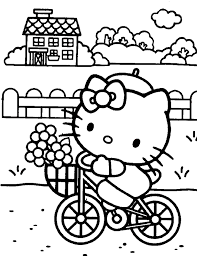 kitty coloring pages riding bike printable free coloring