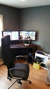 new corner desk setup looking for wall mount ideas for two 27