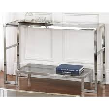 glass top sofa table silver chrome and glass sofa table