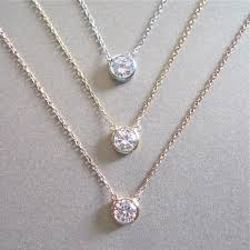 silver gold diamond necklace images Solitaire diamond necklace diamond necklace floating diamond gold jpg