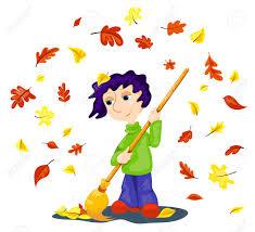 imagenes animadas de otoño el niño limpia las hojas de otoño dibujos animados ilustración