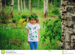 child in summer forest idea for nature crafts with kids