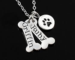 personalized paw print necklace personalized dog necklace bone and paw print