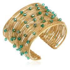 golden cuff bracelet images Panacea green crystal flexible wire gold cuff bracelet jpg