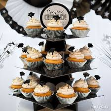 silver and gold grad cap cupcake tower idea classy grad treat