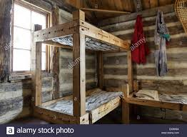 Cabin Bunk Bed Rustic Bunk Beds And Living Quarters Of A Fur Trade Era Log Cabin